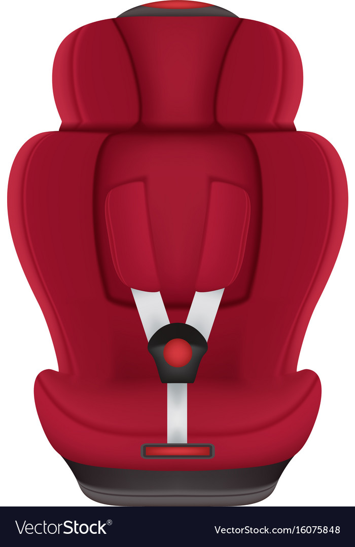 Red child car seat isolated on a white background vector image