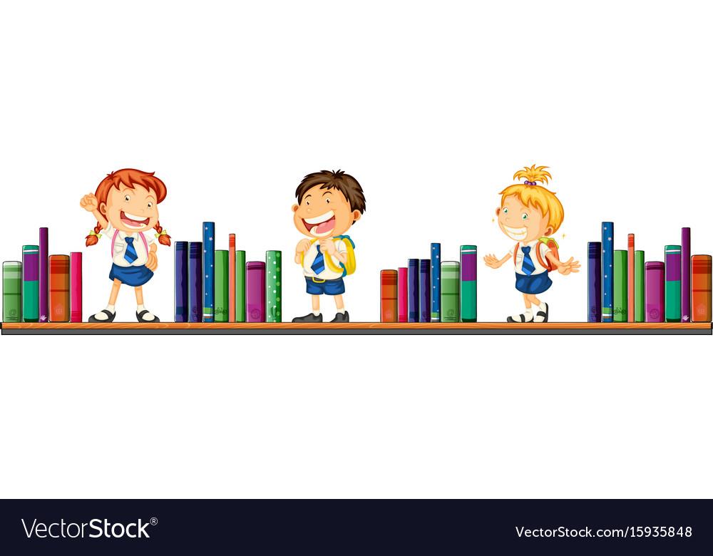 Three school children and books vector image