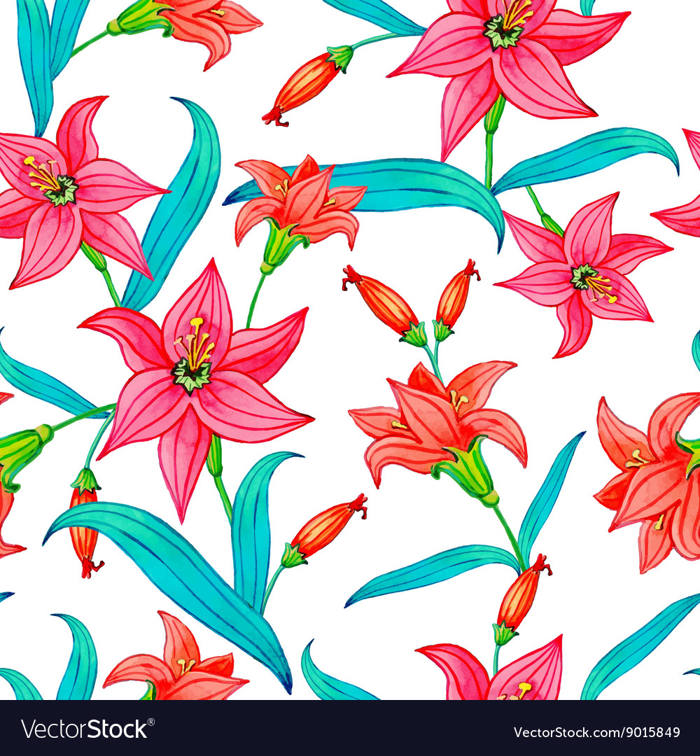 Seamless Pattern of Watercolor Flowers vector image