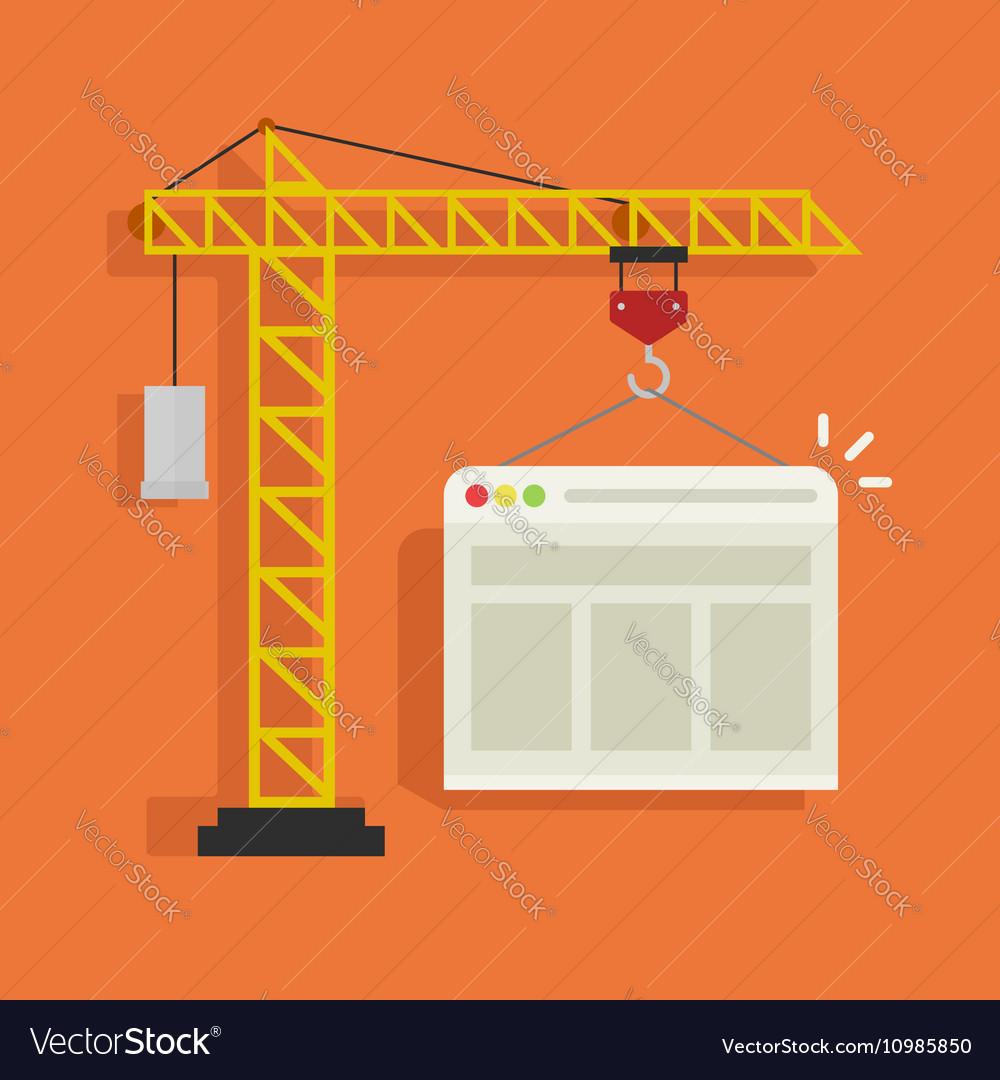 Crane building website vector image