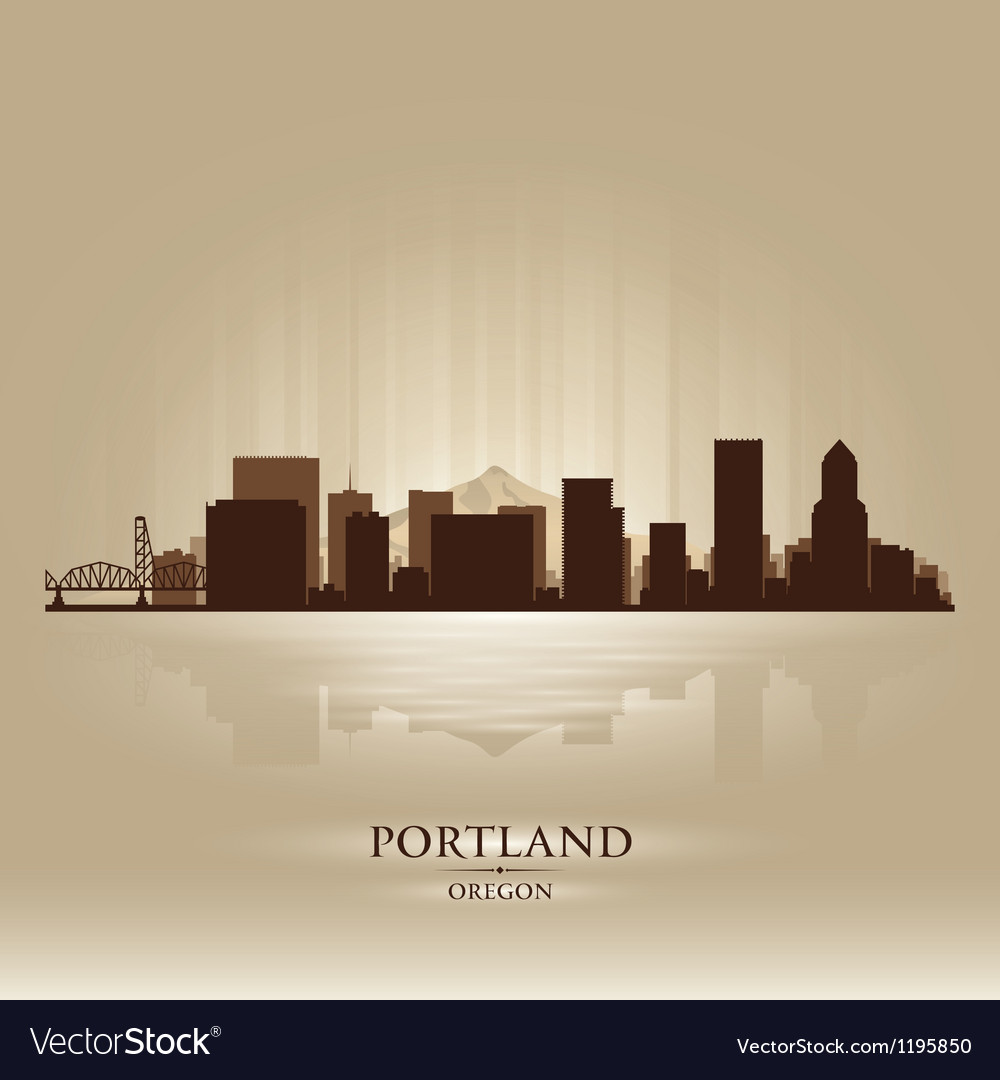 Portland Oregon skyline city silhouette vector image