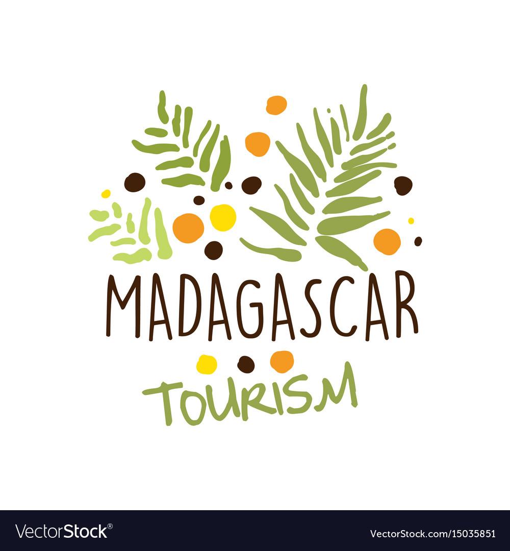 Madagascar tourism logo template hand drawn vector image