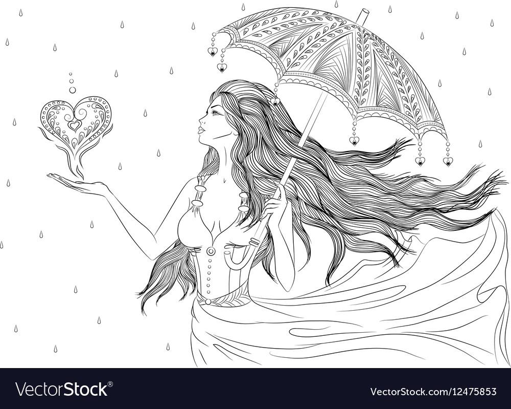 Line art of girl under umbrella vector image