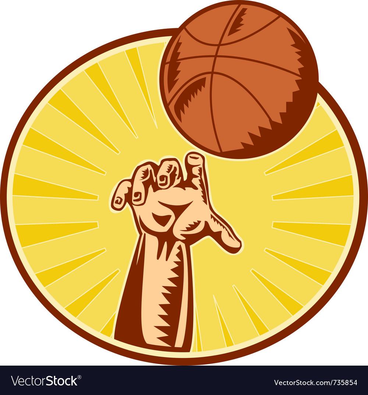 basketball retro symbol royalty free vector image
