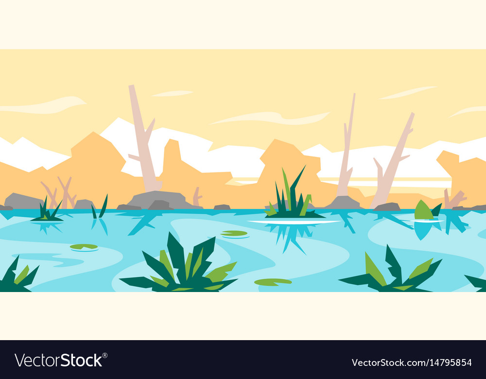 River Game Background Landscape Royalty Free Vector Image - River game