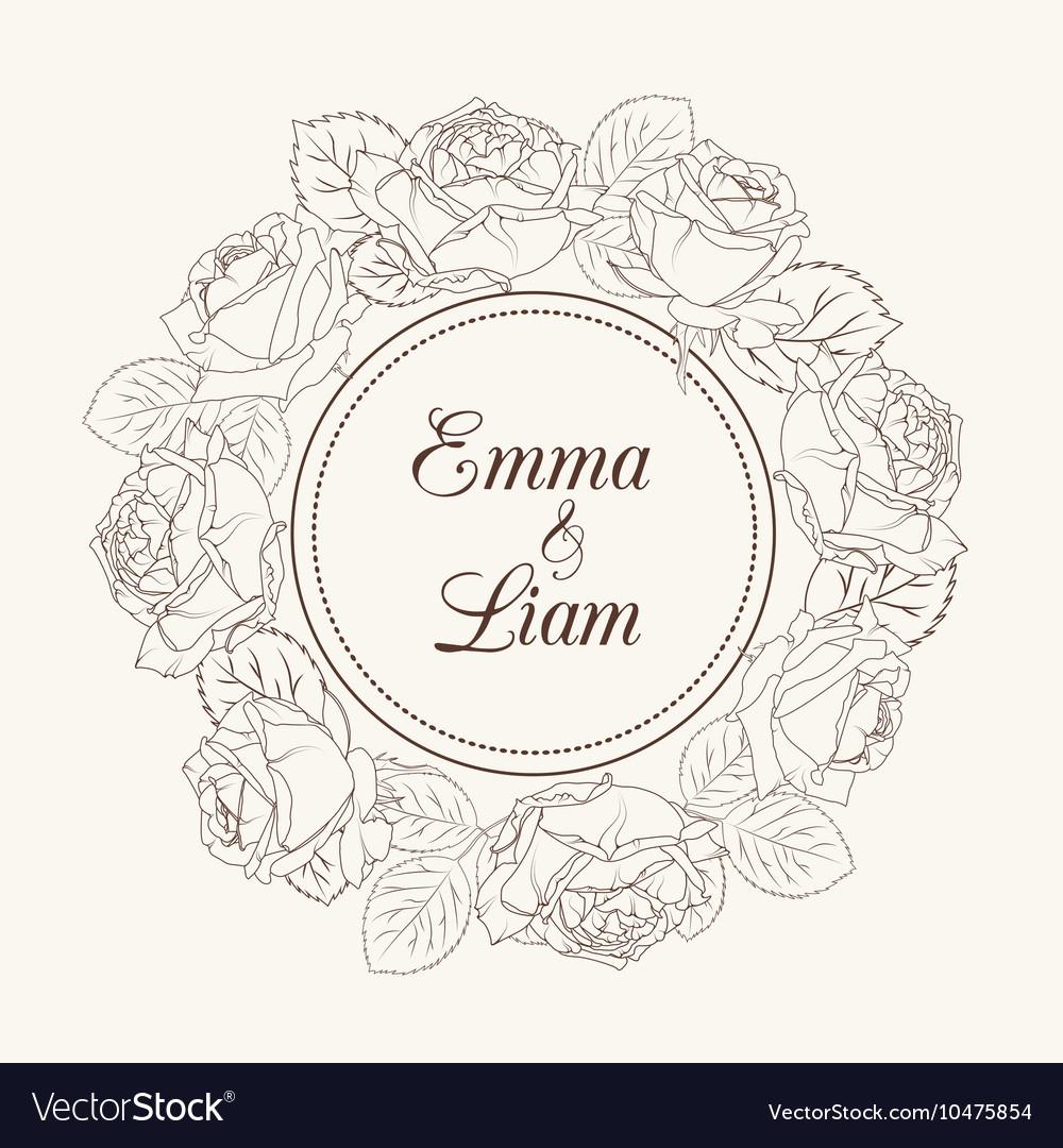 Rose flowers wreath wedding invitation card vector image