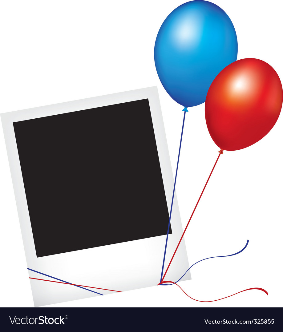 Photo frame with balloons vector image