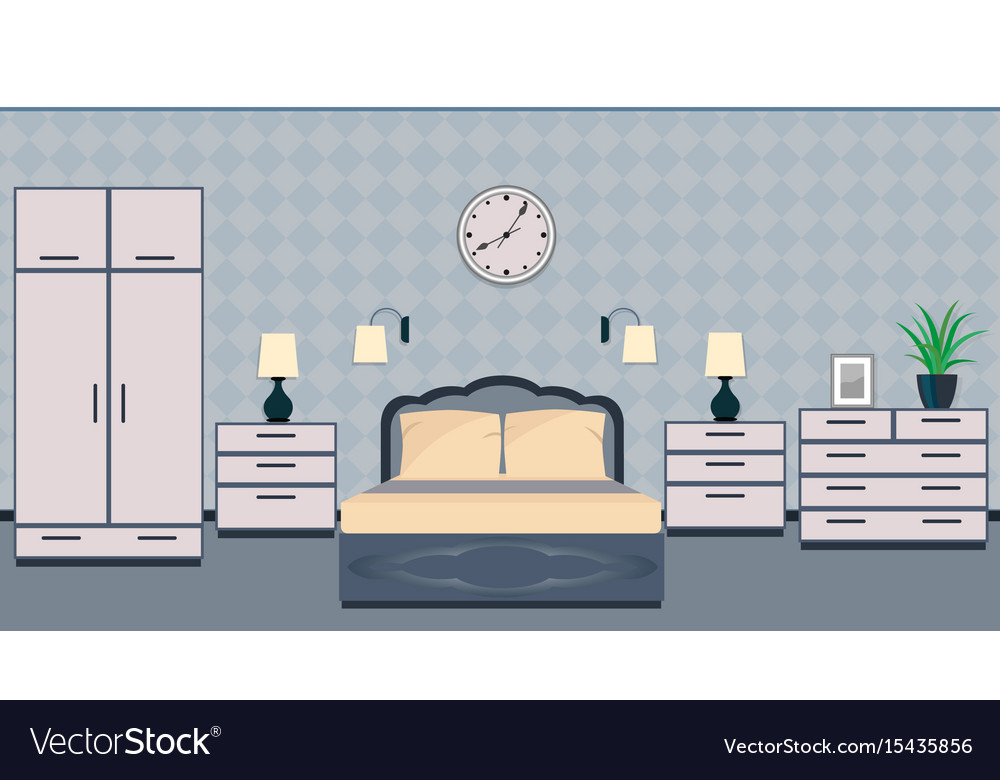 Bedroom interior in classic style with furniture vector image