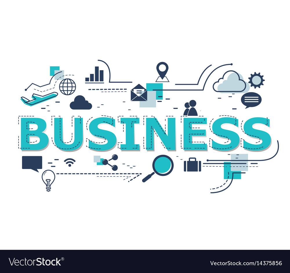 Creative of business word lettering vector image