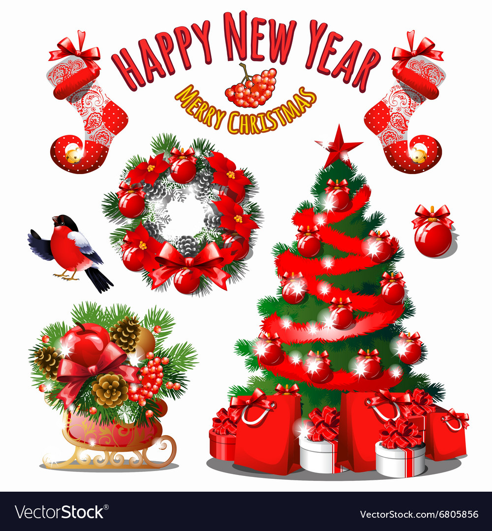 Great Christmas set of decorations in red vector image