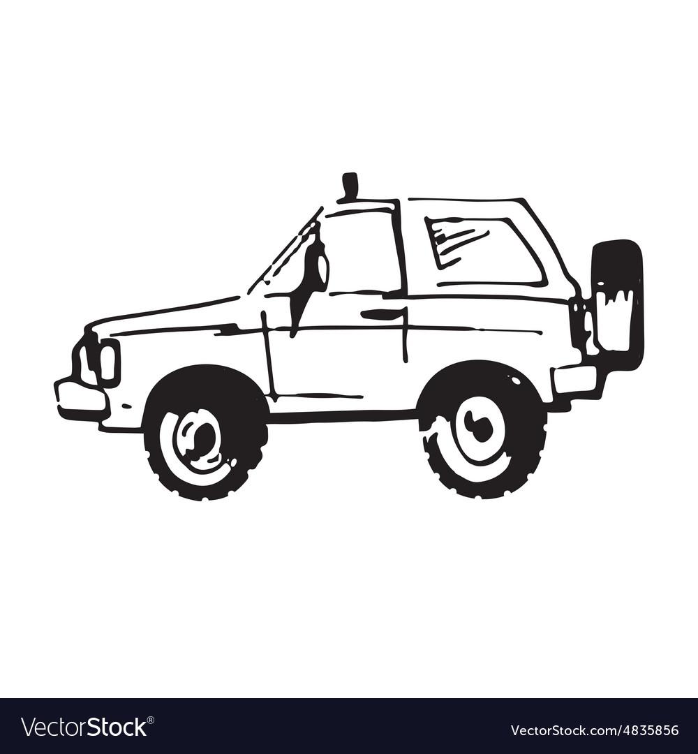 Hand drawn car vector image