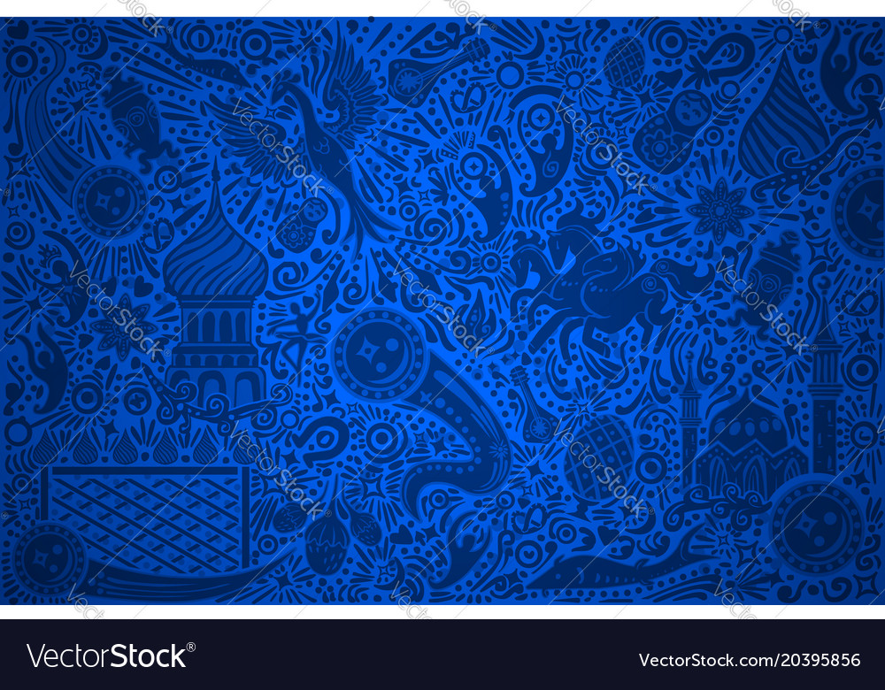 Russia world cup blue pattern vector image
