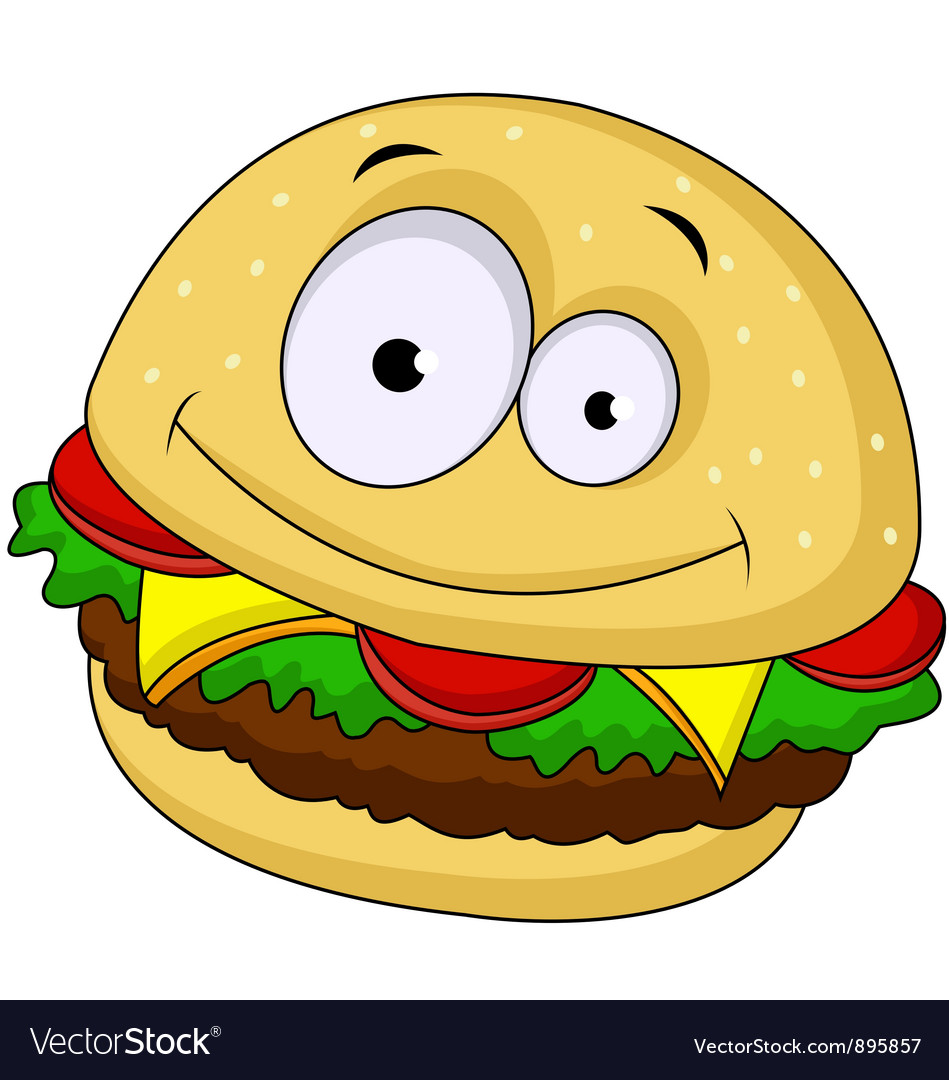 Burger Cartoon Vector Vectorstock