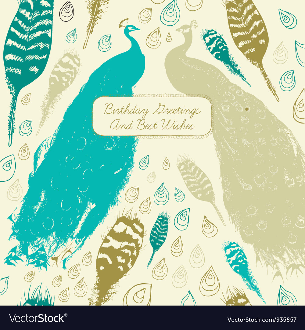 Vintage Peacock Birthday Card vector image