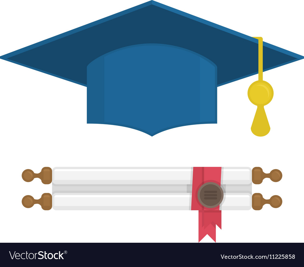 Graduation cap and diploma rolled scroll vector image