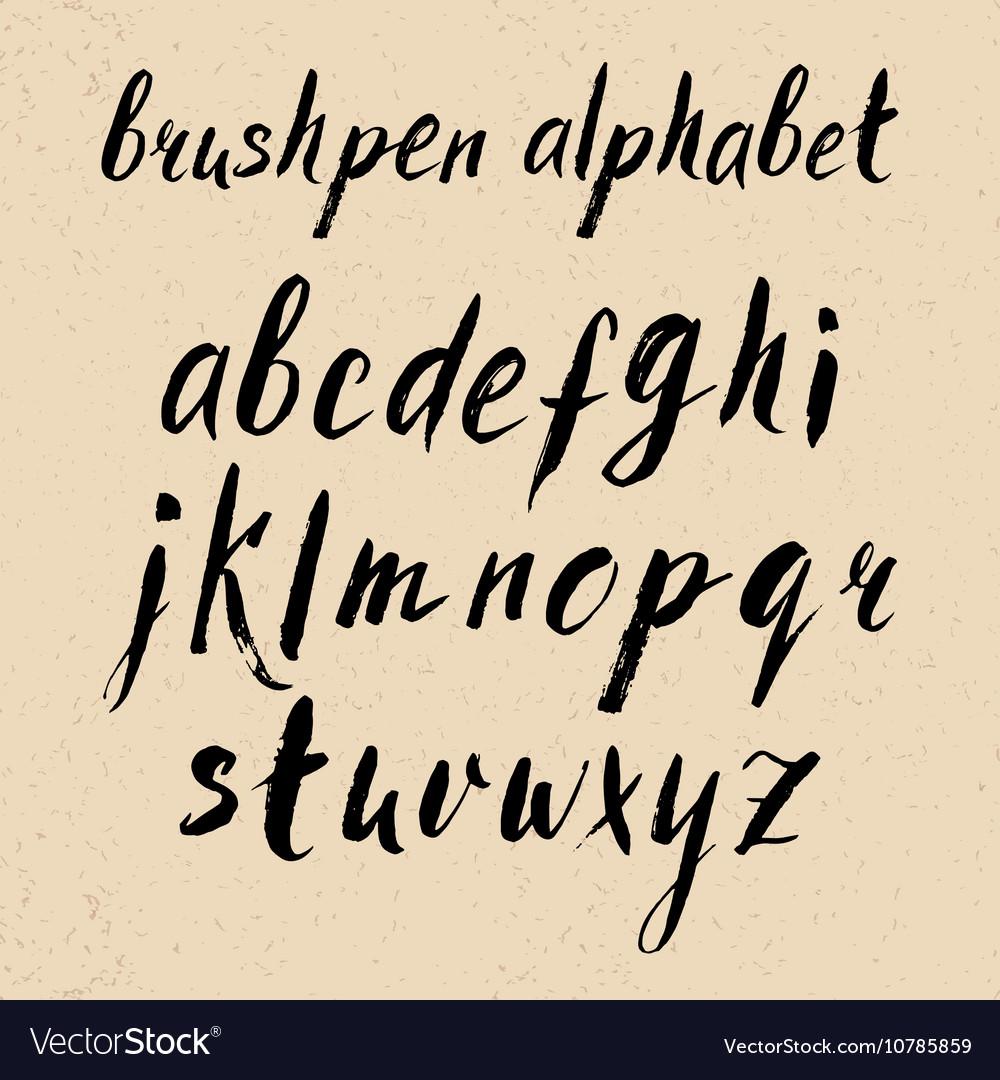 Hand drawn brushpen alphabet vector image