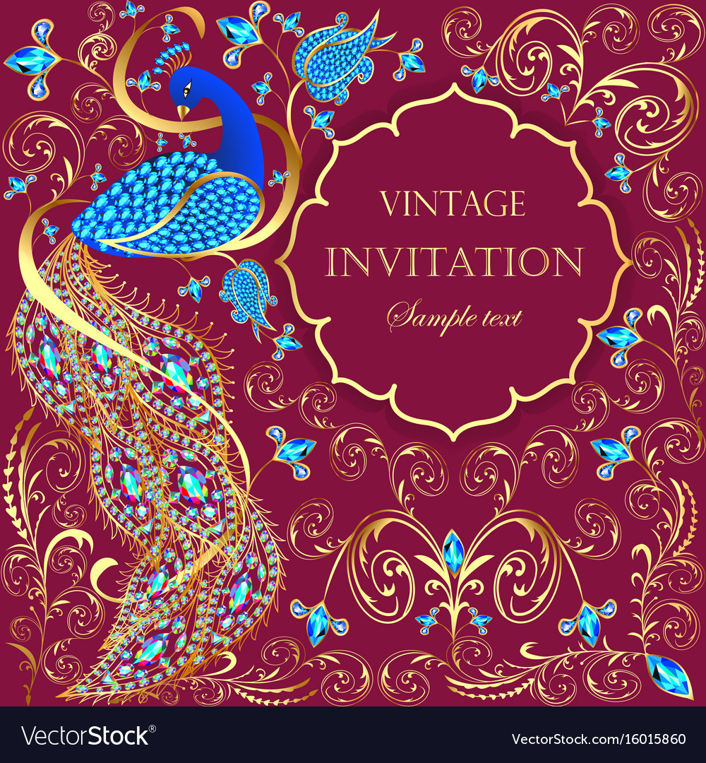 Background with peacock with gold ornament and vector image