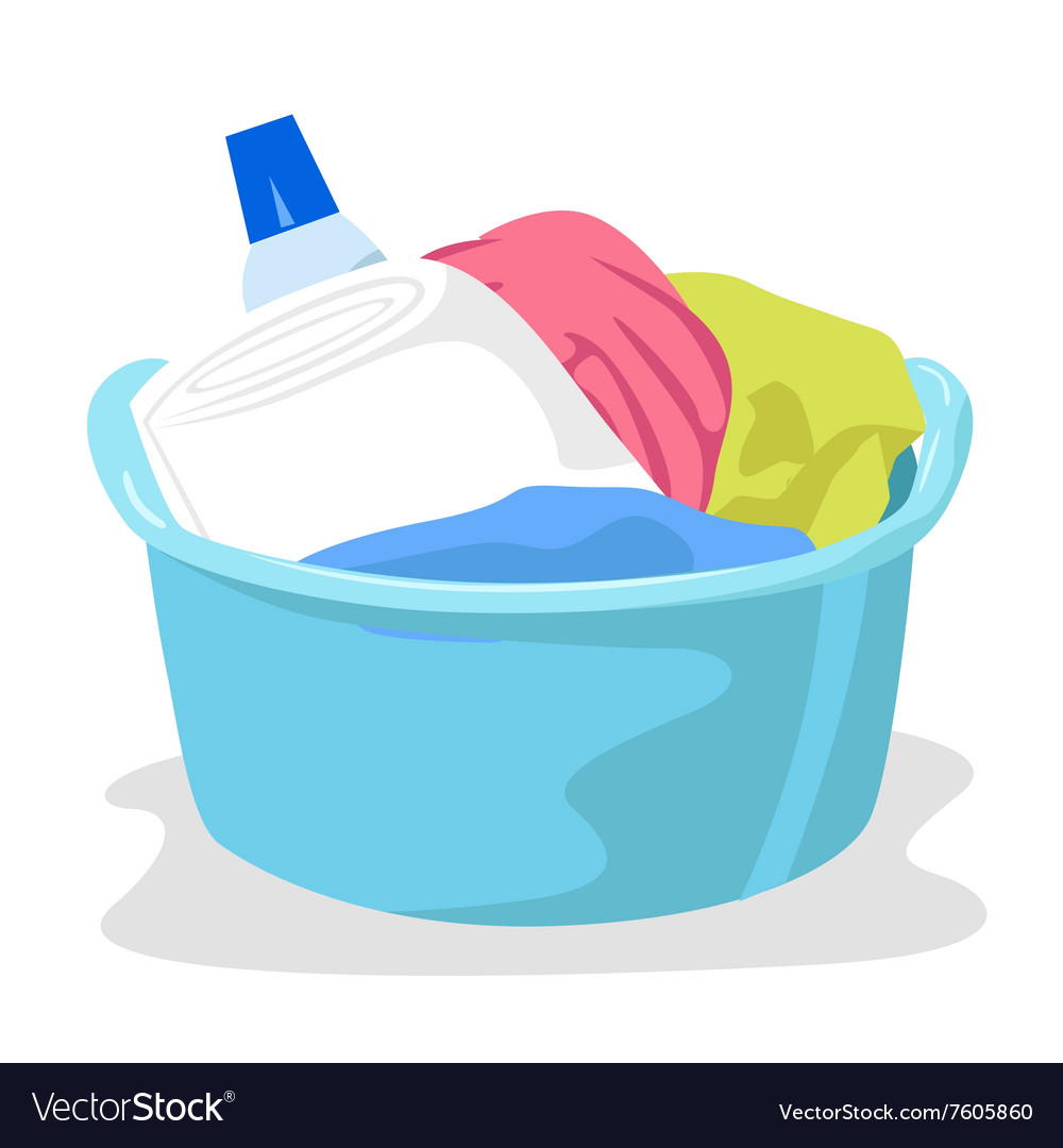 Basin full of laundry and detergents vector image