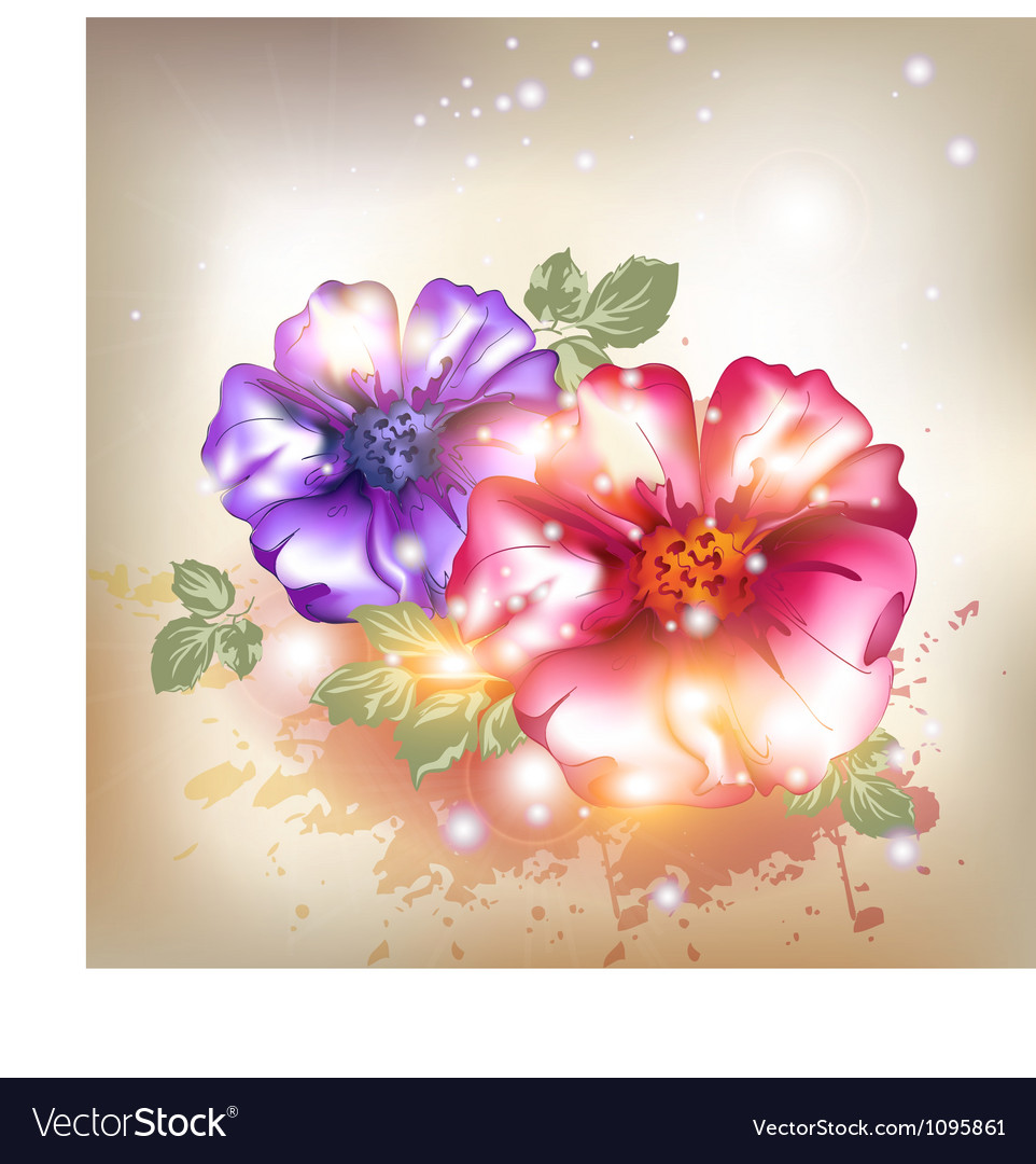 Sexy pink and purple flowers vector image