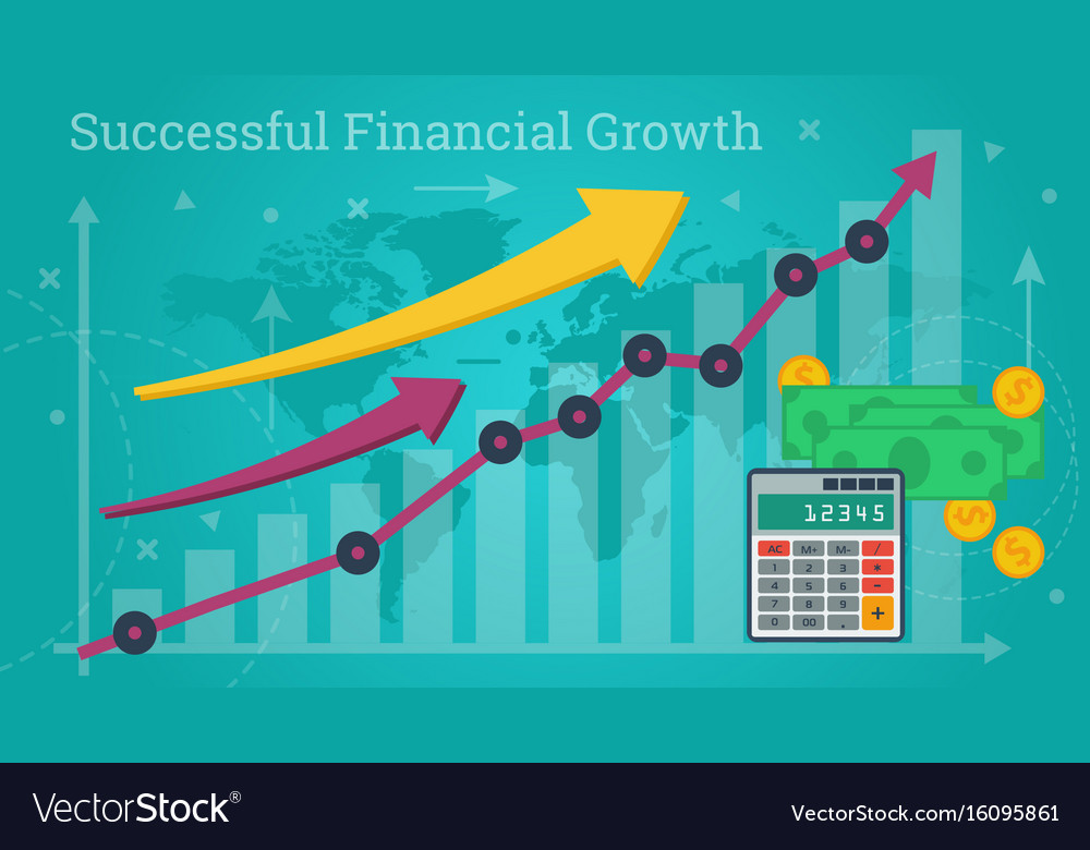 Business banner - successful financial growth vector image