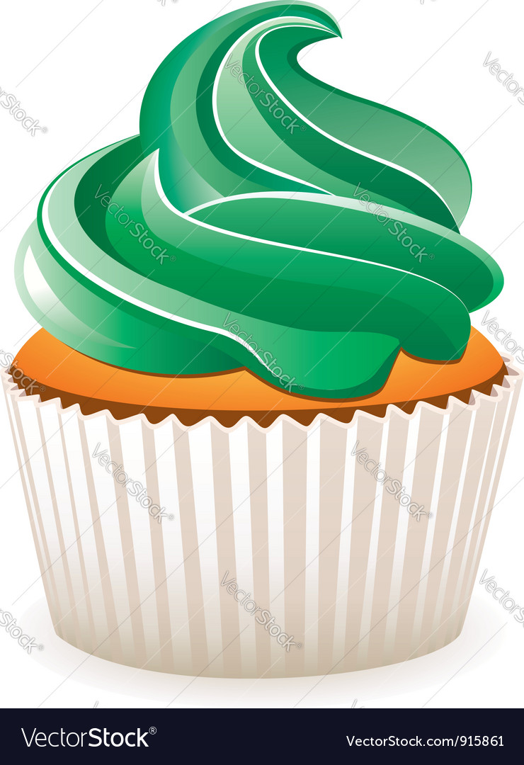 Cupcake with green cream vector image