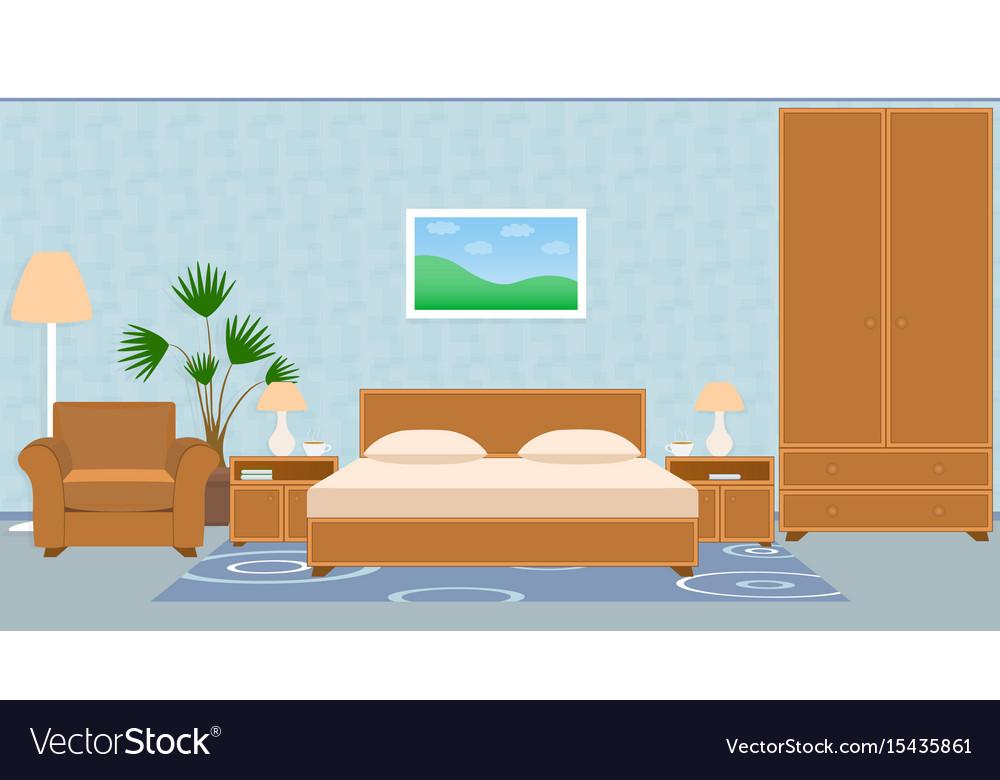 Interior bedroom with furniture carpet wallpaper vector image