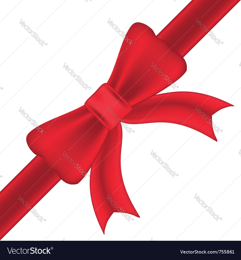 Red bow and ribbons isolated on white background vector image