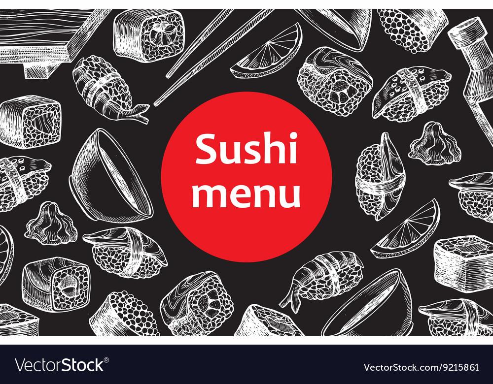 Vintage chalkboard sushi restaurant menu vector image