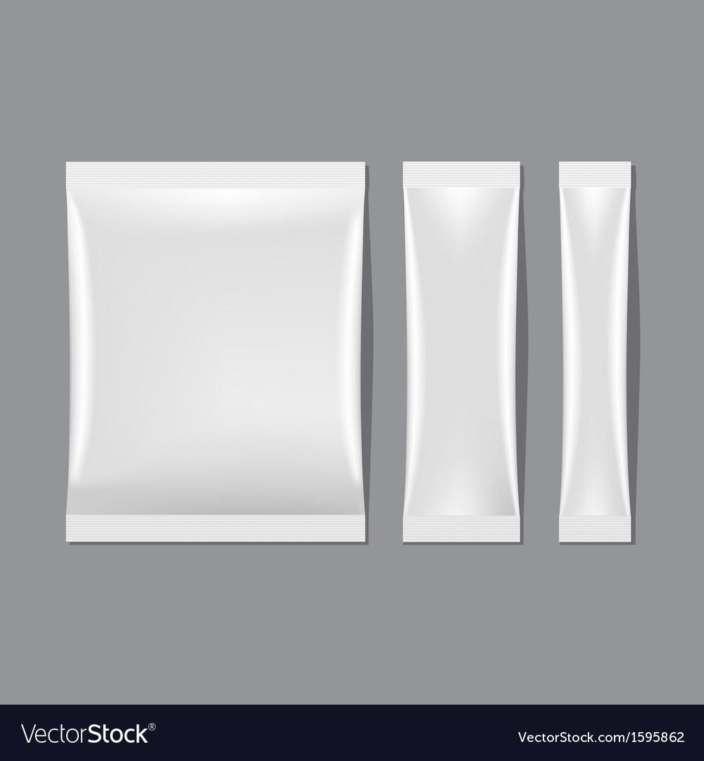 Set of White Blank Sachet Packaging vector image