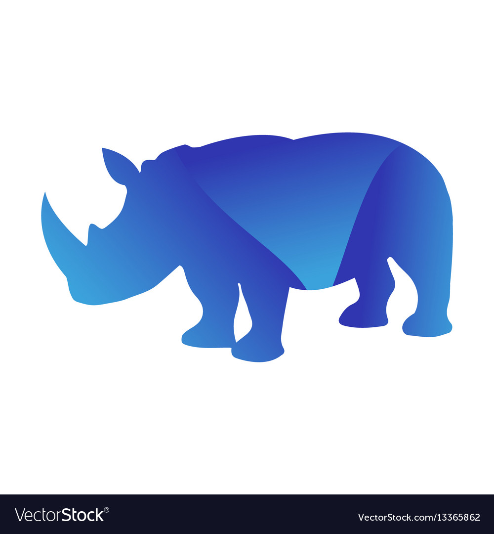 Wild rhino animal jungle pet logo silhouette of vector image
