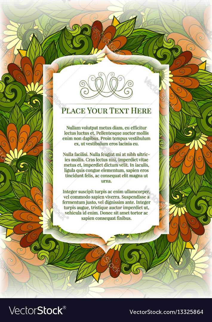 Colored floral template with place for text vector image