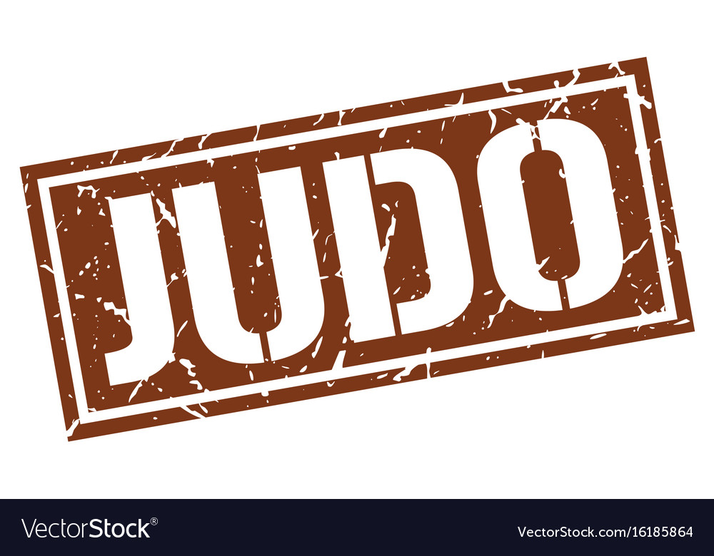Judo square grunge stamp vector image