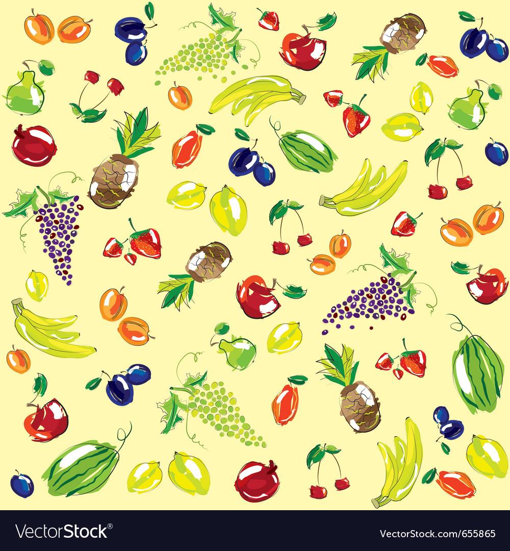 Hand sketched fruit pattern vector image