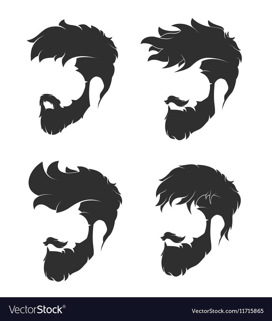 Hairstyle with a beard and mustache vector image