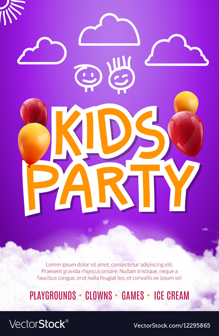 Kids party art flyer design Balloons design poster vector image