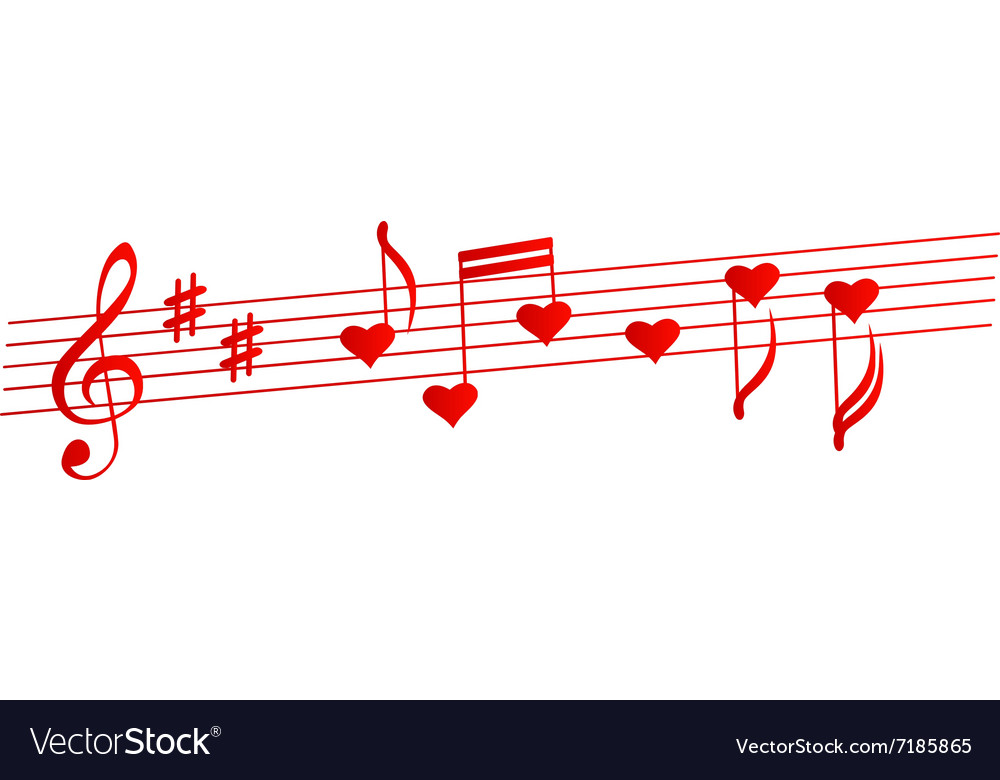 Valentines musical background Love songs vector image