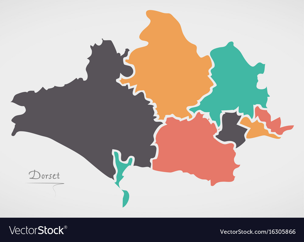 Dorset england map with states and modern round vector image