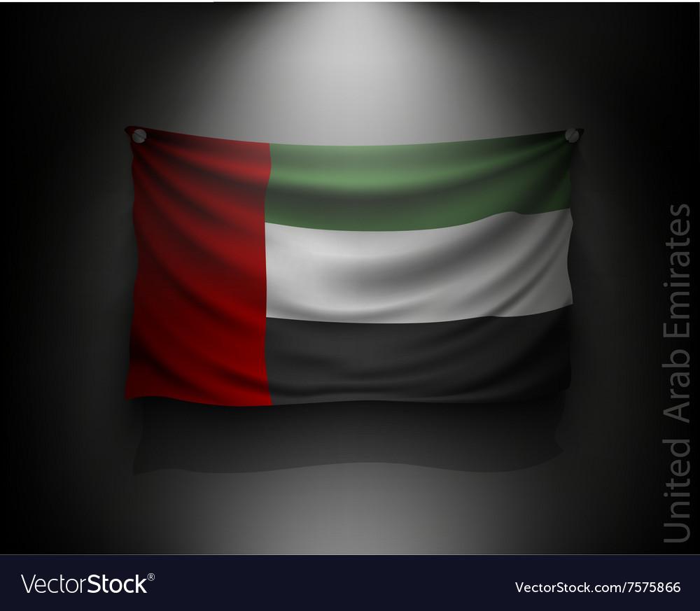Waving flag United Arab Emirates on a dark wall vector image