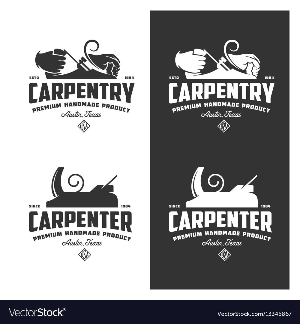 Carpentry vintage labels set vector image