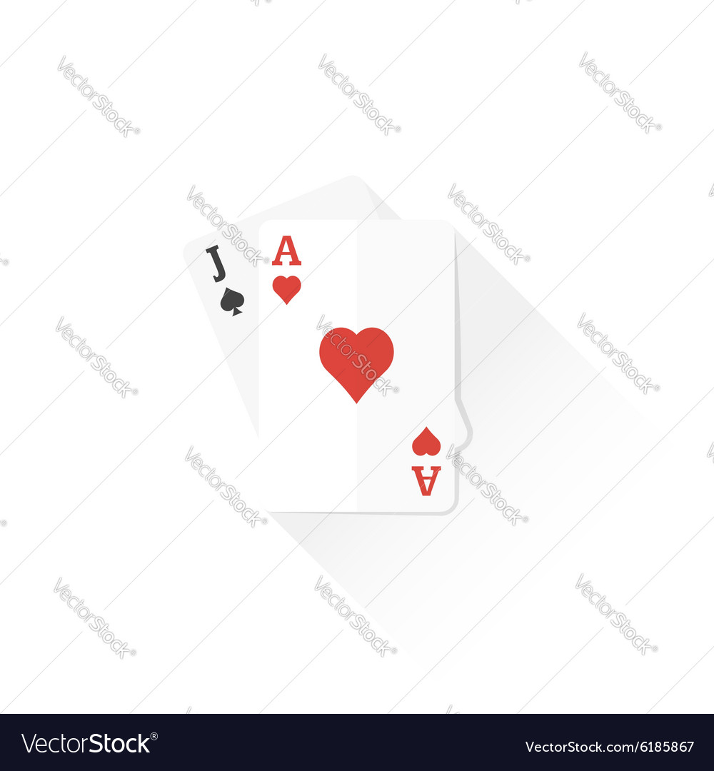 Color playing cards black jack combination icon vector image