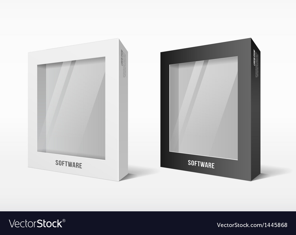 White and black box software package vector image