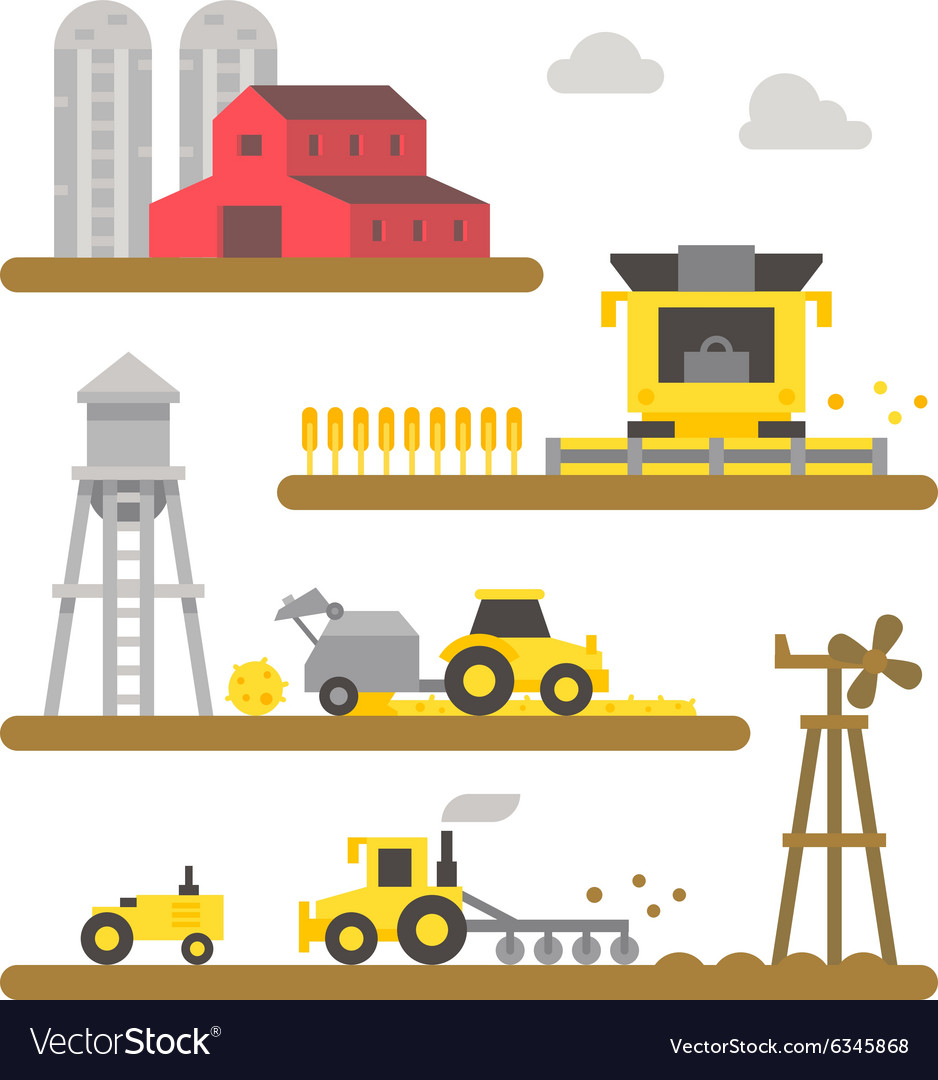 Farm land machineries flat design vector image