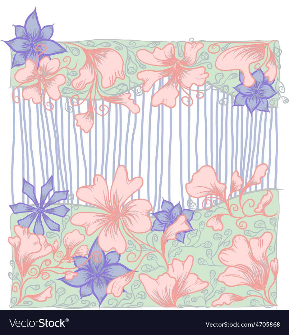 Outline flower card Hand drawn vector image