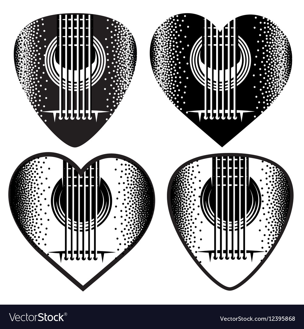 Set of stylish monochrome plektrum for vector image