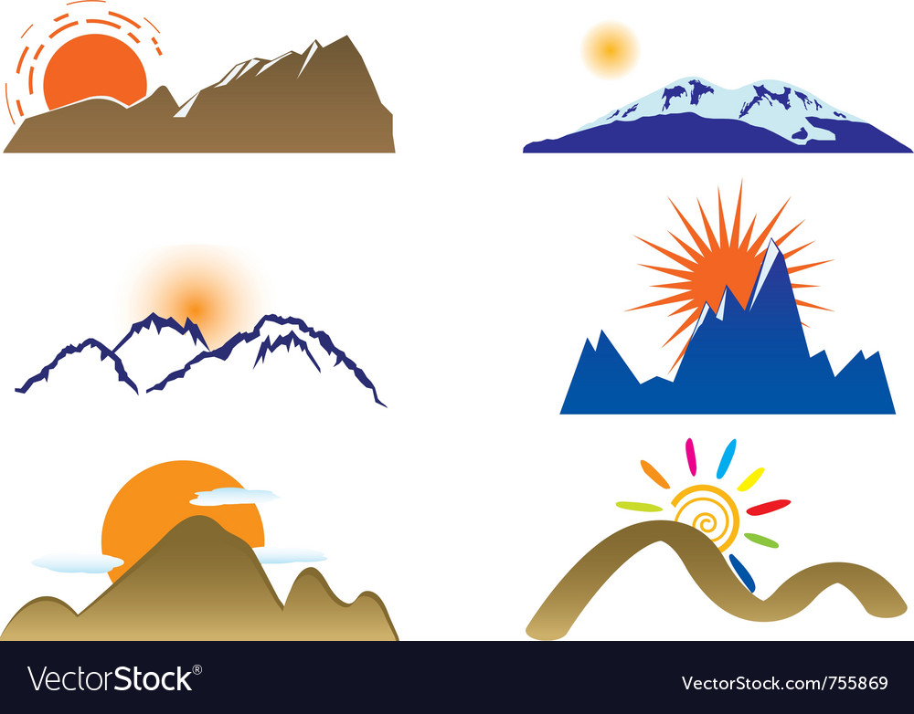 Mount and sun Vector Image