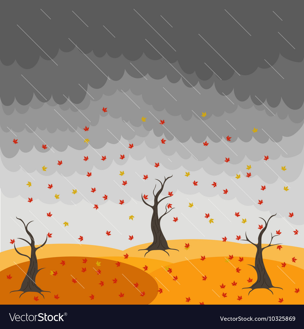 Autumn landscape with trees and fields Leaf fall vector image