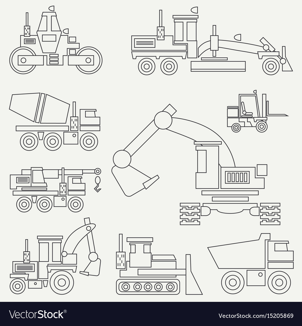 Line flat icon construction machinery set vector image