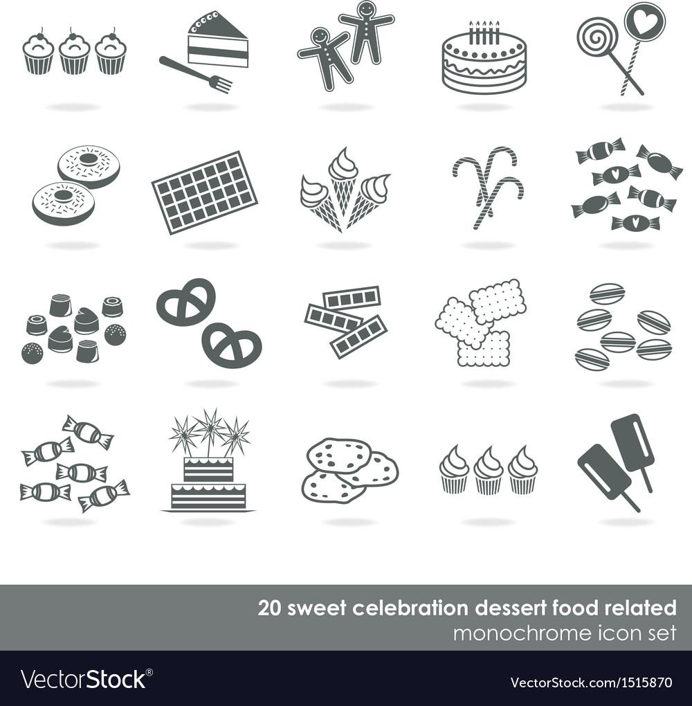 Dessert food icon set vector image