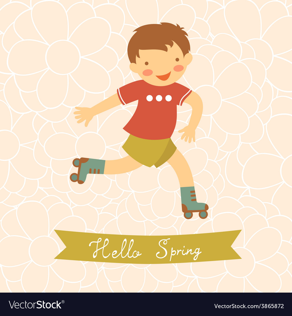 Merveilleux Hello Spring Card With Cute Little Boy Vector Image
