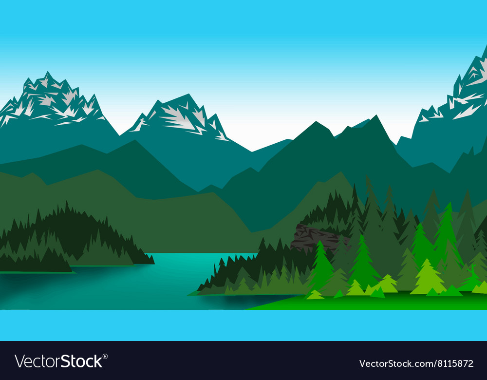 Picture mountain valley vector image